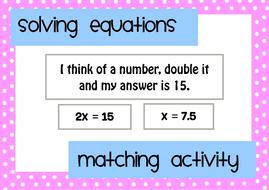 Solving Equations Matching Activity By Mathspaduk Teaching