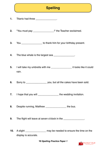 y6 sats style spelling practice paper 1 by helenrachelcrossley uk teaching resources tes. Black Bedroom Furniture Sets. Home Design Ideas