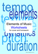 "14 ""Elements of Music"" Worksheets and Puzzles for Cover, Homework or Revision"