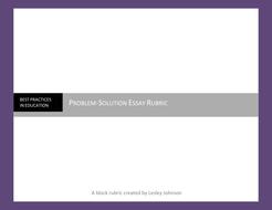 Problem Solution Essay Rubric