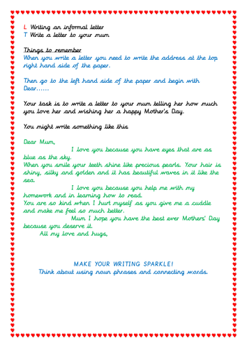 Letter Writing Activity For Mothers Day By Shetim