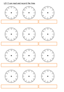 Drawing time analogue clock face worksheets Year 2 Year 3 - upper KS1 / lower KS2