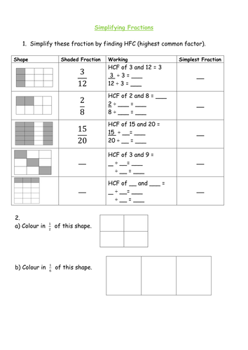 Equivalent fractions and simplifying fractions Yr 5 differentiated ...