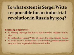 AQA Tsarist and Communist Russia, 1855-1964 Industrialisation Tsarist Russia