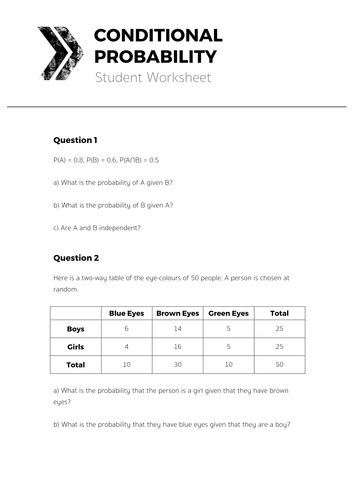 Worksheet Conditional Probability Worksheet conditional probability complete lesson by tomotoole teaching resource d student worksheet pdf