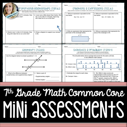 7th Grade Math Common Core Mini Assessments By