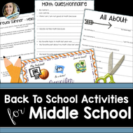 Back to School Activities for Middle School Math