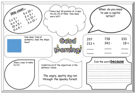 Y2 SATS revision sheets (english, maths and grammar objectives)