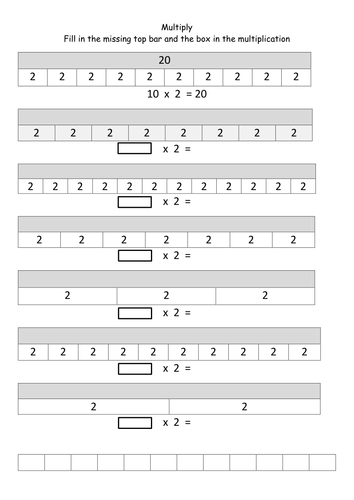Bar modelling multiplication set 2 2x 3x 4x 5x 6x 7x for 10x table worksheets