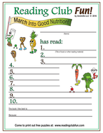 March Into Good Nutrition Reading Log and Certificate Set