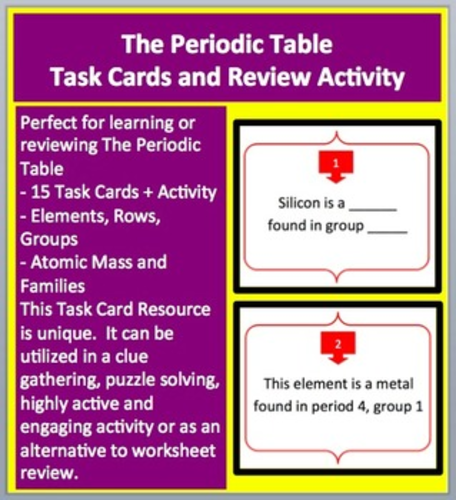 The periodic table task cards and unique activity by the periodic table task cards and unique activity by teachwithfergy teaching resources tes urtaz Choice Image