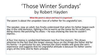 what type of poem is those winter sundays