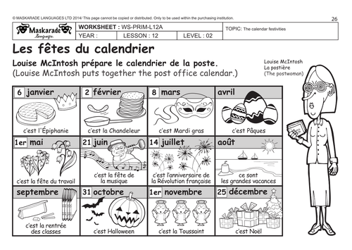 Number Names Worksheets worksheet for months of the year : FRENCH:HEALTH & BODY (UNIT 4) Y4 -Y5: Calendar of the year/ When ...