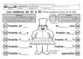 FRENCH HEALTH & BODY (UNIT 4): Y4 -Y5: The numbers up to 40/ Adding ...