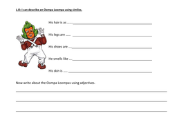 Works Worksheets Simile Worksheet For An Oompa Loompa By Lucinda  Teaching  English Worksheets Year 9 with Simple Predicate And Simple Subject Worksheets Oompalumpassimilesenddocx Worksheet Conjunctions Word