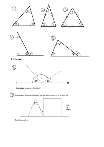 ks2 missing angles in a triangle year 4 5 6 worksheet notebook by trabzonunal teaching. Black Bedroom Furniture Sets. Home Design Ideas