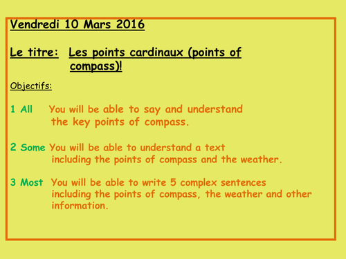 Les points cardinaux, points of compass, games, reading 8 questions, correction activities, weather