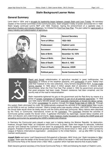 Help on history essay? Stalin's economic policies?