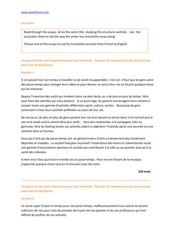 topic les loisirs french as a level essay planning and writing an topic les loisirs french as a level essay planning and writing an essay for language paper by steveglover teaching resources tes