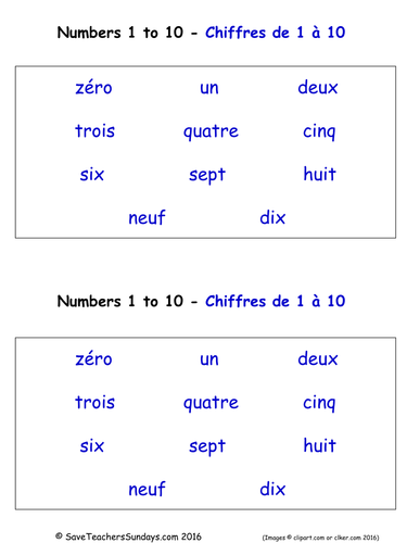 Numbers 0-10 in French Worksheets, Games, Activities and Flash ...
