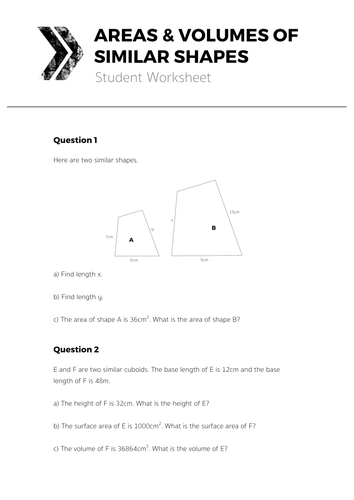 Areas Volumes Of Similar Shapes Complete Lesson By