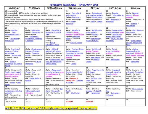 Year 6 Revision Timetable By Loz2710red Teaching