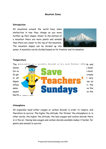 Preview A Text Worksheet : Mountains zones lesson plan text and worksheet by