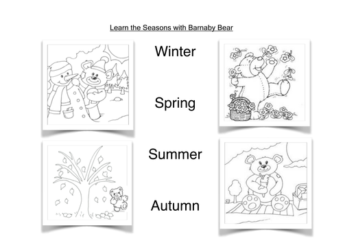 Barnaby Bear and the Four Seasons by loretolady Teaching – Seasons Worksheet Kindergarten