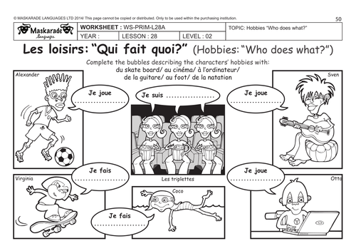 Worksheet french sports kidz activities french unit 6 friends activities time y4 y5 my hobbies sport ibookread PDF