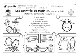 FRENCH (UNIT 6: FRIENDS/ACTIVITIES/TIME): Y4-Y5: Daily routine!