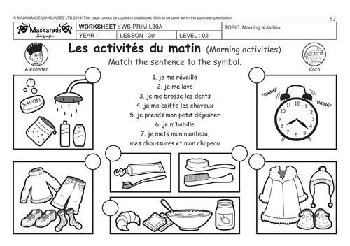 FRENCH UNIT 6 FRIENDSACTIVITIESTIME Y4Y5 Daily routine by – Free French Worksheets