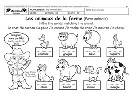 FRENCH (UNIT 6: FRIENDS/ACTIVITIES/TIME): Y4-Y5: Farm animals ...