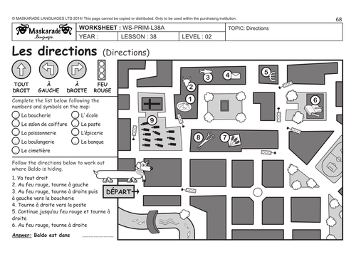 FRENCH UNIT 7 HOME TRANSPORT HOLIDAYS Y4 Y5 Directions – Directions Worksheet