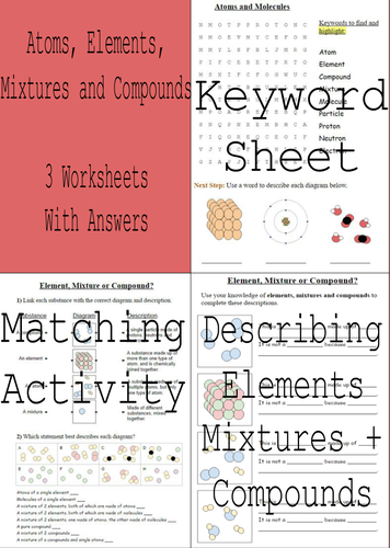 Printables Elements Compounds And Mixtures Worksheet elements compounds and mixtures 3 worksheets answers by sci guy teaching resources tes