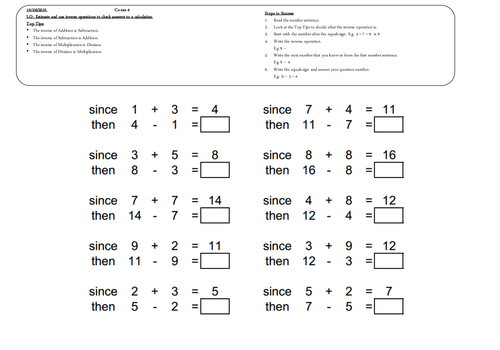 Year 4 Maths Addition Subtraction Inverse by – Multiplicative Inverse Worksheet