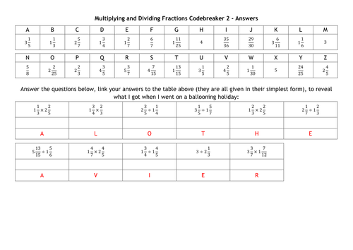 Multiplying and Dividing Fractions Codebreakers by alutwyche – Multiplication and Division Fraction Worksheets