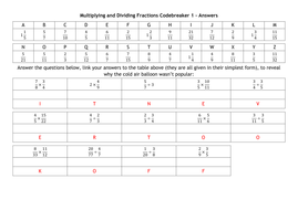 Multiplying and Dividing Fractions Codebreakers by alutwyche ...
