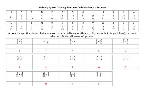 Multiplying and Dividing Fractions Codebreakers by alutwyche – Multiplying and Dividing Fractions Worksheets Pdf