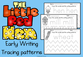 The Little Red Hen Early writing tracing patterns