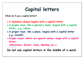 When to use a capital letter | Teaching Resources