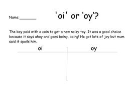 'oi' or 'oy' Phoneme Spotter Worksheet