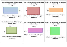 Simplifying Expressions using Area and Perimeter by whistleandsums ...
