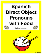 Spanish Direct Object Pronouns Sentences and Food Worksheet