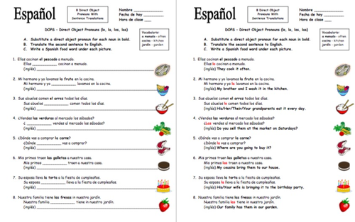 Spanish Direct Object Pronouns Sentences And Food Worksheet By