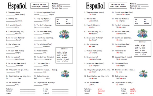 Spanish Direct Object Pronouns Worksheet With Ar And Er