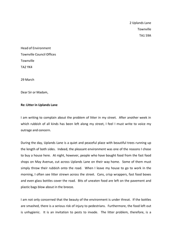 Formal letters of complaint by thrichmond teaching resources tes spiritdancerdesigns Choice Image