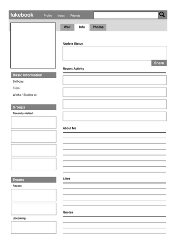 SOCIAL MEDIA Fakebook Character Template by dramatrunk - Teaching ...
