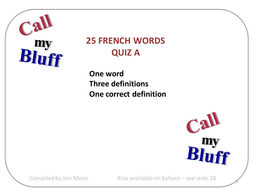'Call My Bluff' French Words Quiz A