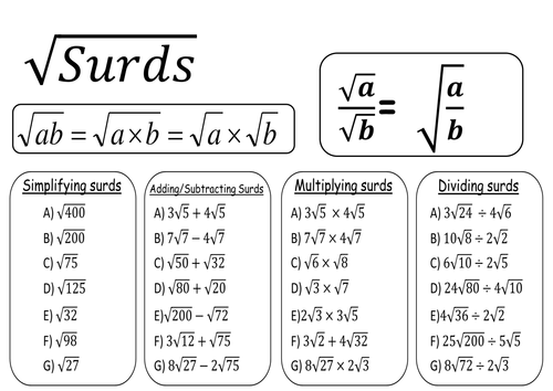 Introducing And Simplifying Surds Resources Tes