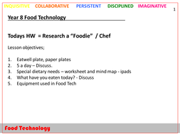 Y8 Food Technology - theory lessons